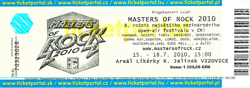 Masters of Rock - bilet