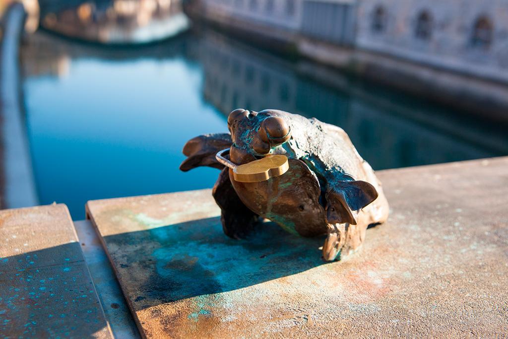 Metalowa żaba z kłódką zapiętą na pyszczku