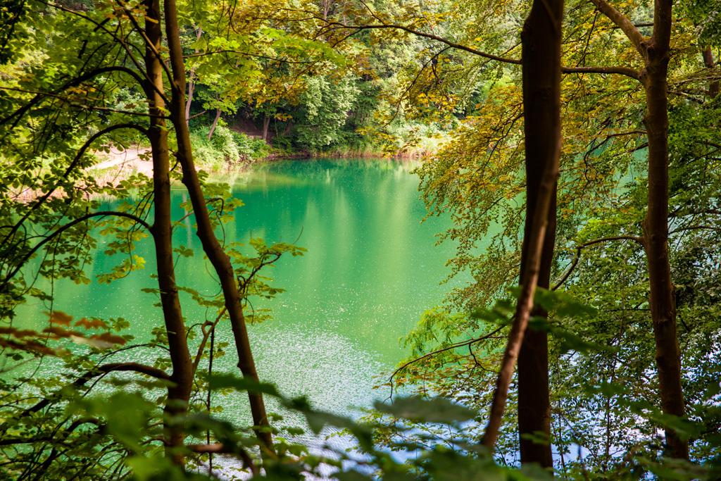 Jezioro Szmaragdowe – widok przez drzewa