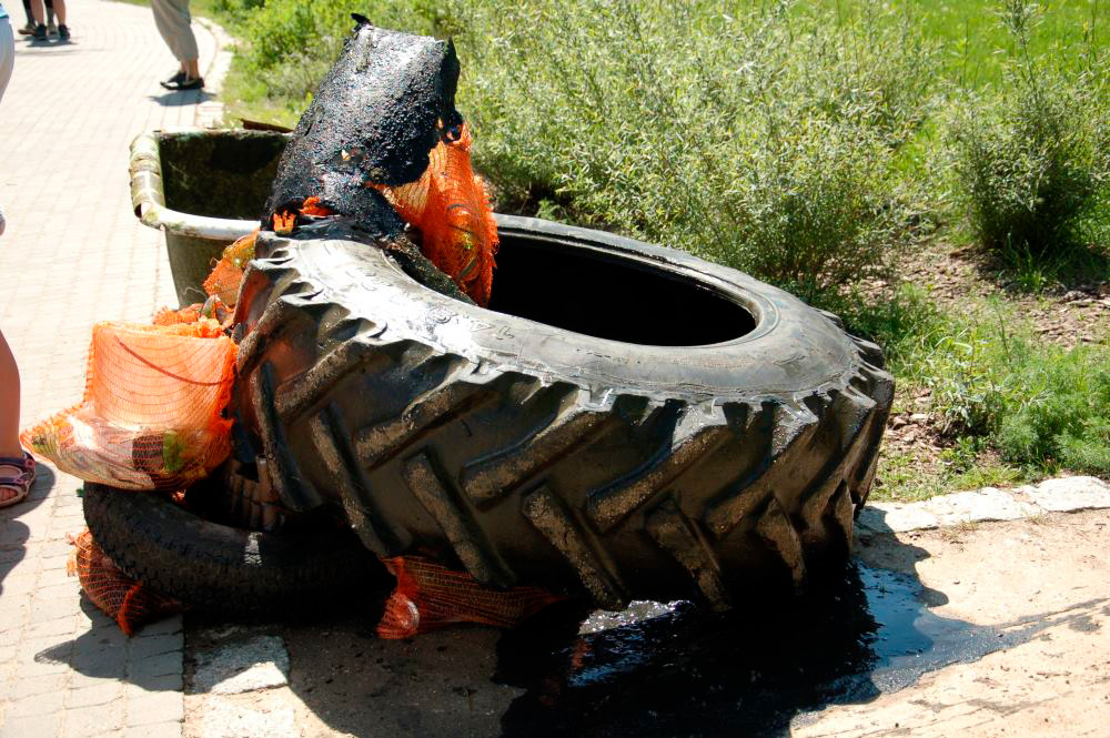 Sprzątanie jeziora, efekty: opona od traktora, wanna i inne śmieci