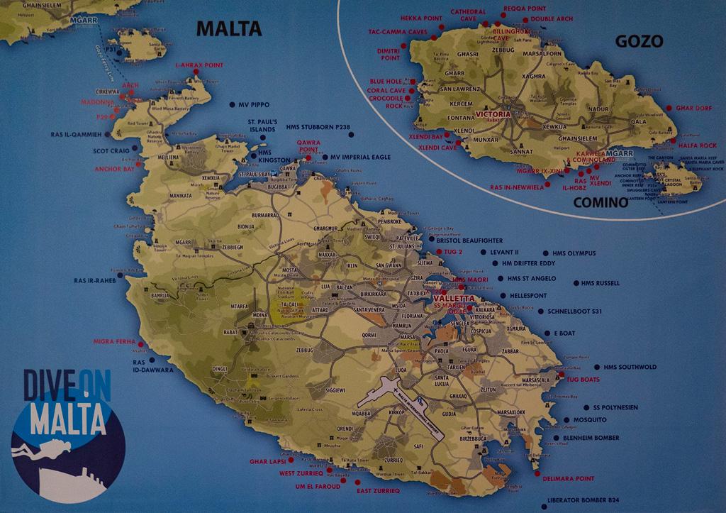 Nurkowiska na Malcie i Gozo - mapa z Dive on Malta