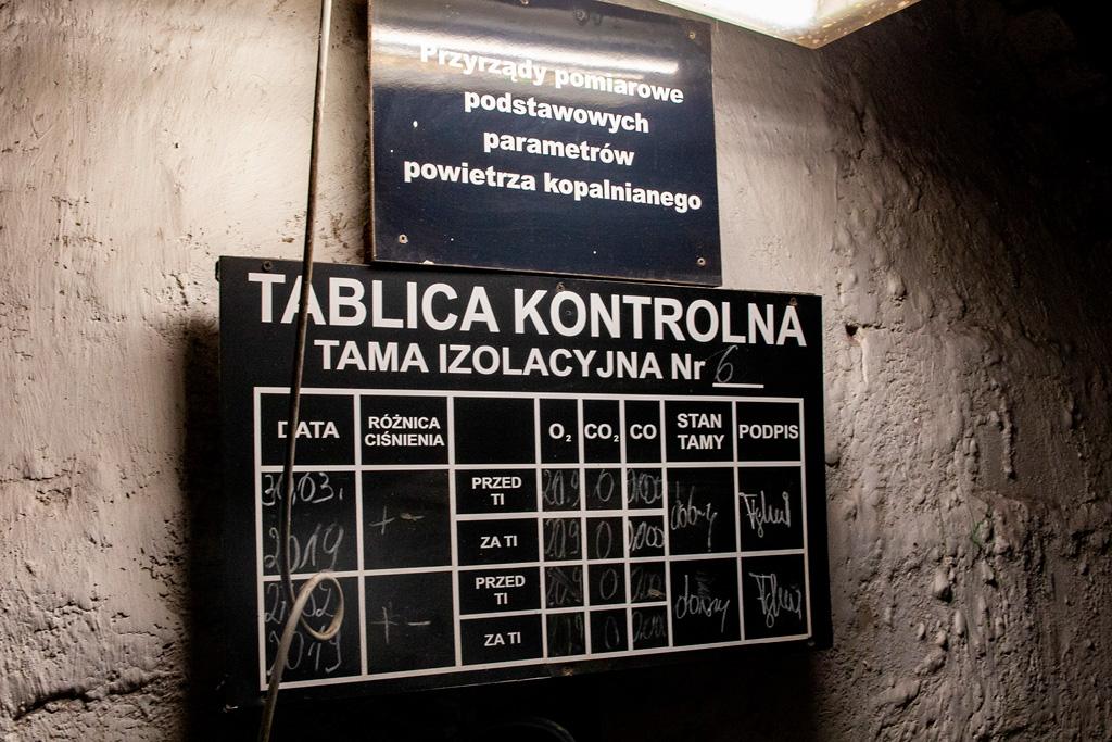 Kopalnia Guido - tablica kontrolna tamy izolacyjnej