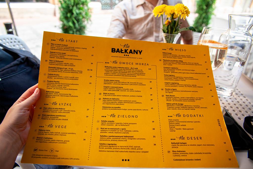Na Bałkany - karta menu, czerwiec 2019