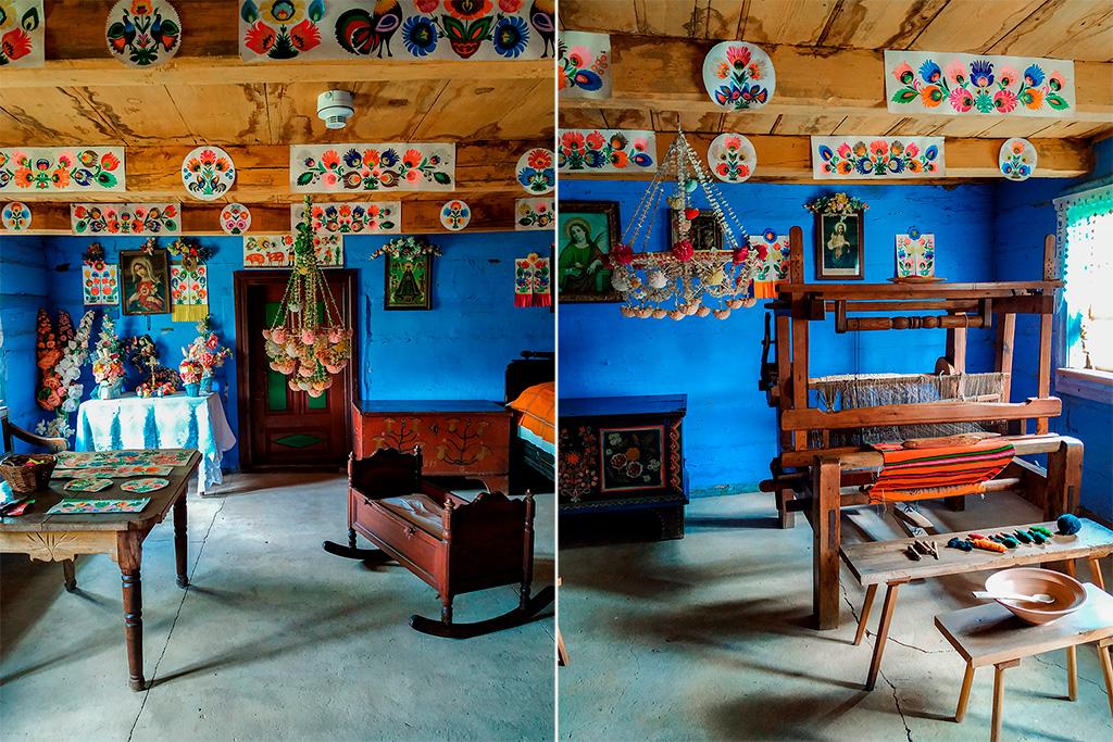 Skansen w Maurzycach – wnętrza, bogate i kolorowe