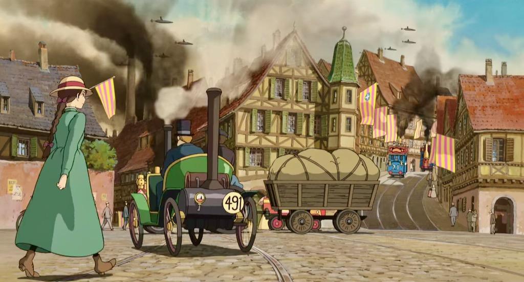 Anime city break – parowe samochody i tramwaje na ulicy