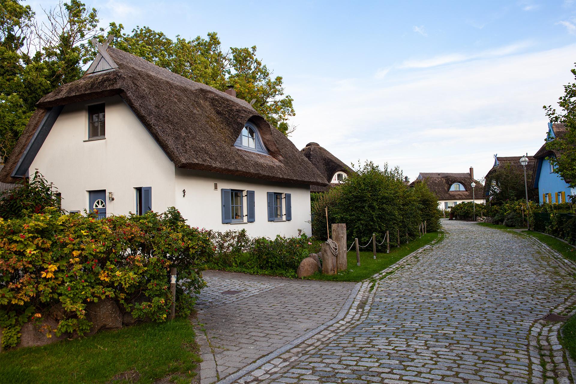 Osiedle domków pokrytych strzechami