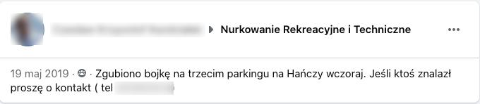 Ogłoszenie o treści: Zgubiono bojkę na trzecim parkingu na Hańczy wczoraj. Jeśli ktoś znalazł proszę o kontakt.